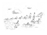 Life arising from the oceans: the evolutionary steps, from sea creature to… - New Yorker Cartoon Premium Giclee Print by Michael Maslin