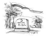 A tombstone in a cemetery: Born - 80 DowDied - 9,000 Dow - New Yorker Cartoon Premium Giclee Print by Donald Reilly