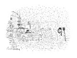 Snowman hailing cab - New Yorker Cartoon Premium Giclee Print by Mort Gerberg