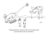 """Congratulations, General. The anti-missile system wasn't fooled by the de…"" - New Yorker Cartoon Premium Giclee Print by Eric Lewis"