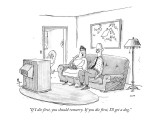 """If I die first, you should remarry. If you die first, I'll get a dog."" - New Yorker Cartoon Premium Giclee Print by George Booth"