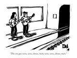 """This one goes verse, verse, chorus, train; verse, verse, chorus, train."" - New Yorker Cartoon Premium Giclee Print by Drew Dernavich"