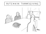 Facades of people sitting at the dinner table with a turkey in the middle. - New Yorker Cartoon Premium Giclee Print by Sam Means