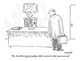 """Sir, the following paradigm shifts occurred while you were out."" - New Yorker Cartoon Premium Giclee Print by Robert Mankoff"