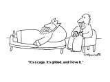 """It's a cage. It's gilded, and I love it."" - New Yorker Cartoon Premium Giclee Print by Charles Barsotti"