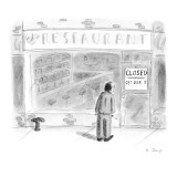 Man stares at a sign in the window of Ed's Restaurant which reads: 'Closed… - New Yorker Cartoon Premium Giclee Print by Roz Chast