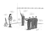 A firing squad of violinists aiming their bows at a blindfolded rock star,… - New Yorker Cartoon Premium Giclee Print by Tom Cheney