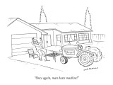 """Once again, man beats machine!"" - New Yorker Cartoon Premium Giclee Print by Nick Downes"