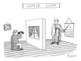 """Voyeur Exam."" A man takes an eye exam while looking into binoculars throu… - New Yorker Cartoon Premium Giclee Print by Zachary Kanin"