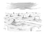 Gravestone shaped like a toaster inscribed with the word 'Toast.' - New Yorker Cartoon Premium Giclee Print by Mick Stevens