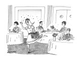 Women runs through restaurant scattering herbs. - New Yorker Cartoon Premium Giclee Print by Mick Stevens