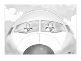 Copilot smirks at paper airplane stuck in the hair of the pilot. - New Yorker Cartoon Premium Giclee Print by Harry Bliss