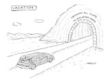 Car approaches tunnel with sign that reads, 'Abandon All Hope Ye Who Enter… - New Yorker Cartoon Premium Giclee Print by Robert Mankoff