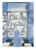 Dog in front of an open refrigerator. - New Yorker Cartoon Premium Giclee Print by Michael Crawford