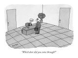 """Which door did you come through?"" - New Yorker Cartoon Premium Giclee Print by Peter C. Vey"