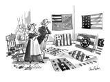 Betsy Ross and George Washington looking over a variety of flag designs. - New Yorker Cartoon Premium Giclee Print by Dana Fradon