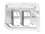 "Two gas pumps at a station with a sign above them that says 'Gasoline.""  T… - New Yorker Cartoon Premium Giclee Print by Roz Chast"