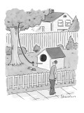 Man walks by a large dog house sized, bird house with a leash leading up i… - New Yorker Cartoon Premium Giclee Print by Danny Shanahan