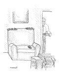 Man returning to his TV chair that is decorated as a three star general. - New Yorker Cartoon Premium Giclee Print by Robert Mankoff