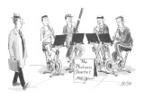 Sidewalk quartet, with all musicians in gym sweats and riding exercise bic… - New Yorker Cartoon Premium Giclee Print by Warren Miller
