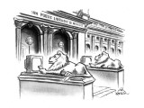 The two lion statues on the steps of the New York Public Library are holdi… - New Yorker Cartoon Premium Giclee Print by Ed Fisher