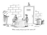 """""""What, exactly, did you say to the maître d'?"""" - New Yorker Cartoon Premium Giclee Print by Mick Stevens"""