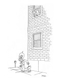 Man looking out second story window watches as word balloon with the words… - New Yorker Cartoon Premium Giclee Print by Jack Ziegler