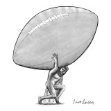 Atlas carries an enormous football on his back. - New Yorker Cartoon Premium Giclee Print by Mort Gerberg