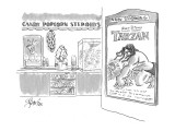 Concession stand at movie theatre showing Walt Disney's Tarzan, offers ban… - New Yorker Cartoon Premium Giclee Print by Edward Frascino