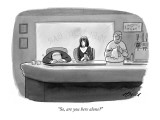 """So, are you here alone?"" - New Yorker Cartoon Premium Giclee Print by Harry Bliss"