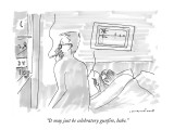 """It may just be celebratory gunfire, babe."" - New Yorker Cartoon Premium Giclee Print by Michael Crawford"