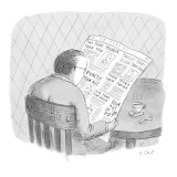 Man reads the obituaries in newspaper; headlines for each death refer, rel… - New Yorker Cartoon Premium Giclee Print by Roz Chast