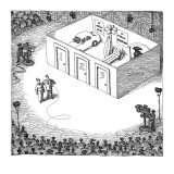 Game show prizes behind three doors: 'A New car,' 'A Maui Vacation, and 'T… - New Yorker Cartoon Premium Giclee Print by John O'brien