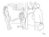Man standing on street corner with sign that reads, 'Pay Me or I'll Vote f… - New Yorker Cartoon Premium Giclee Print by Michael Shaw