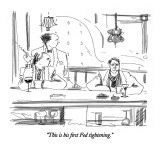 """This is his first Fed tightening."" - New Yorker Cartoon Premium Giclee Print by Richard Cline"
