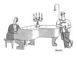 Piano player with roadie ready to extinguish the candles on the piano. - New Yorker Cartoon Premium Giclee Print by Jack Ziegler