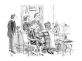 People gathered around death-bed while dying man reads 'How to Avoid Proba… - New Yorker Cartoon Premium Giclee Print by Everett Opie