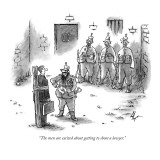 """""""The men are excited about getting to shoot a lawyer."""" - New Yorker Cartoon Premium Giclee Print by Frank Cotham"""
