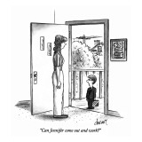 &quot;Can Jennifer come out and work?&quot; - New Yorker Cartoon Premium Giclee Print by Tom Cheney