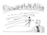 Ice skater writes, 'Can I Borrow your Truck?' instead of a figure eight in… - New Yorker Cartoon Premium Giclee Print by Emily S. Hopkins