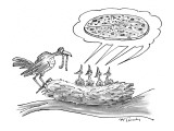 Mother bird feeding worm to four chicks in nest who are all yelling for pi… - New Yorker Cartoon Premium Giclee Print by Mike Twohy