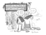 The Emergence Of Language cave woman: 'We need to talk.' caveman: 'Uh-oh.' - New Yorker Cartoon Premium Giclee Print by Leo Cullum