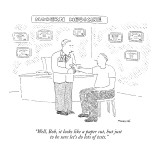 """Well, Bob, it looks like a paper cut, but just to be sure let's do lots o…"" - New Yorker Cartoon Premium Giclee Print by Robert Mankoff"