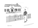 "Man passes fence with sign ""Beware Of Our Lawyer"". - New Yorker Cartoon Premium Giclee Print by Leo Cullum"