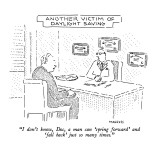 """I don't know, Doc, a man can 'spring forward' and 'fall back' just so man…"" - New Yorker Cartoon Premium Giclee Print by Robert Mankoff"