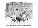 """Please let me through, gentlemen.  I'm a dental hygienist."" - New Yorker Cartoon Premium Giclee Print by Danny Shanahan"