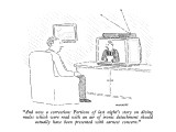 """And now a correction:  Portions of last night's story on diving mules whi…"" - New Yorker Cartoon Premium Giclee Print by Robert Mankoff"