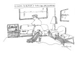 A man in tennis clothes vacuums with the vacuum cleaner between his legs. … - New Yorker Cartoon Premium Giclee Print by Michael Crawford
