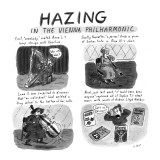 "Hazing in the Vienna Philharmonic First, ""Somebody"" coated Anna L's harp s…"" - New Yorker Cartoon Premium Giclee Print by Roz Chast"