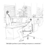 """And before you know it you're looking at everyone as a commission."" - New Yorker Cartoon Premium Giclee Print by Richard Cline"